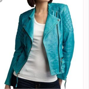 Neiman Marcus teal buttery leather moto jacket S